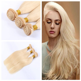 Wholesale Honey Blonde Indian Remy Hair - Cheap honey Blonde Russian virgin hair extensions REAL Russian hair #613 platinum blonde virgin 100% remy human hair straight 3 bundles