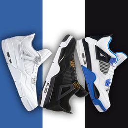 Wholesale Thunder 4s - Drop shipping 4 4s men basketball shoes Pure Money Premium Black Cat Royalty white Cement Oreo bred Fire Red Fear Thunder sports sneaker