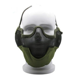 Mascara de camuflaje de caza online-Tactical Airsoft Mask V2 malla metálica malla de acero camuflaje para la caza de disparos accesorios de bolas de pintura