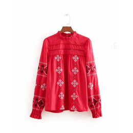 Canada 2018 casual lady broderie vintage blouse rouge fashion femmes chemise à manches longues lâche smock tops chemise blusas S3317 cheap red blouse embroidery Offre
