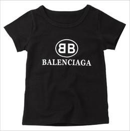 Wholesale girls fashion t shirts - Paris Famous Brand Letter Logo Children Pullovers T-shirt White Black Summer Short Sleeve Luxury Brand Shirt