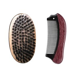 Wholesale Pocket Fishing Kit - Boar Bristle Hair Brush fish Pocket buffalo red sandalwood scarfing fine tooth lice Hair Comb Beard Grooming Kit Wholesale Fast Delivery