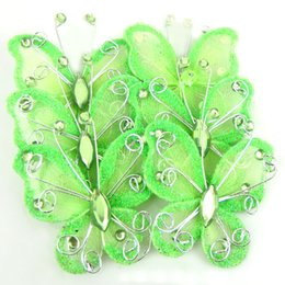 "Wholesale Glitter Butterflies Decorations - 10Pcs 2 "" green organza nylon mesh butterflies with wire & rhinestones glitter for wedding party Decorations"