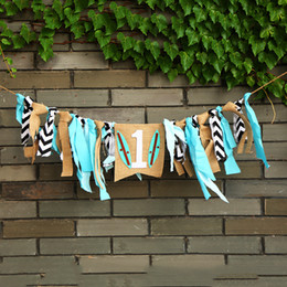 Wholesale Flags Tie - Popular Baby Highchair Buntings Hawaii Beach Rag Tied Pull Flags For Birthday Party Scene Layout Banner Factory Direct 18jz B
