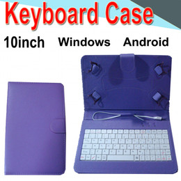 android phone covers Promo Codes - 10inch Wire Keyboard Case Cover for Android Windows Ultra Thin Wireless ABS Keyboard PU Case Universal Mobile Phone XPT-3