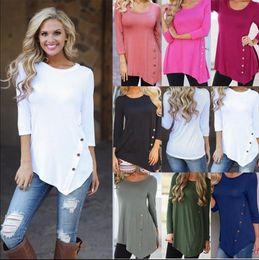 Wholesale round s - Women Buttons Irregular Shirts Round Collar Long Sleeve Hem Buttons Shirt Blouse Tees Vestidos Clothing OOA4775