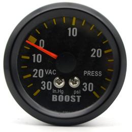 Wholesale psi gauge - 2 inch 52mm Auto Car Turbo Boost Gauge Analog Carbon Fibre Face -30~30 PSI Meter White Background Light