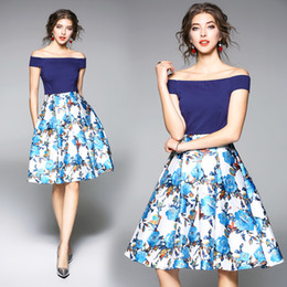 Wholesale Empire Waist Floral Print - New Arrivals Women Printing Off Shoulder Waist A Word Dress Summer Female Short Sleeve Sexy Blue Mosaic Party Dress Fashion Clothes