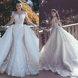 Wholesale Beaded Dress Tulle Skirt - Mermaid Lace Wedding Dresses 2018 With Sheer Back Detachable Train Plunging Neck Long Sleeves Beaded Overskirt Dubai Arabic Bridal Gowns
