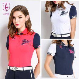 cd1c916f LUCXES summer golf shirt women polo t shirt golf clothing slim fit soft 2018  anti sweat 120176 free shipping