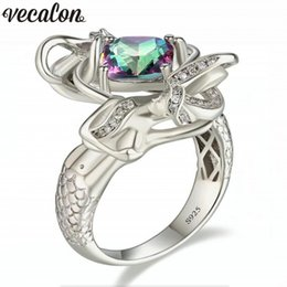 Wholesale White Zircon Ring For Men - whole saleVecalon Dropshipping 9 colors Birthstone Mermaid ring 5A zircon Crystal 925 Sterling silver Filled wedding rings for women men
