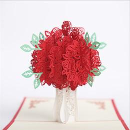 Biglietti da visita fiore fatti a mano online-Commercio all'ingrosso 10pcs Handmade 3D Pop-Up Red Rose Laser Cut Card per carta di San Valentino Rosa Fiore saluto invito a nozze 3D Card