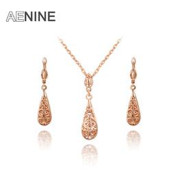 Conjunto de jóias de ouro delicado on-line-Toda a vendaAENINE moda nova chegada genuína cristal Austríaco Ms Delicado Rose Gold Cor Jóias Set Natal / presente de Aniversário L2070019625