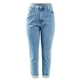 Wholesale womens boyfriend jeans - Womens Plus Size High Waist Washed Light Blue True Denim Pants Boyfriend Jean Female for Women Jeans