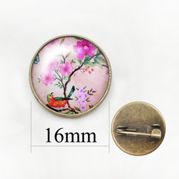 Wholesale Vintage Glass Flower Cabochon - Vintage Woman Bird Brooch Glass Cabochon Dome art picture Flower Brooches Pins For Suit Sweater Carves Jewelry