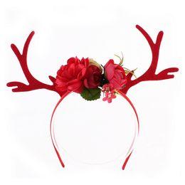 6pcs / lot noël bandeau corne cheveux cerceau fleur cerf bois doré bandeau fête de Pâques nouvelle année décor filles enfants bande de cheveux ? partir de fabricateur