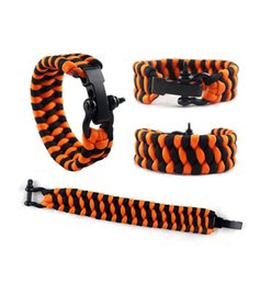Wholesale military paracord bracelet - New Self-rescue Cord Rope Paracord Buckle Bracelets Military Bangles Sport Travel Camping Hiking Adjustable Survival Gadgets