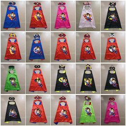 Wholesale mask avengers - Double layer 70*70cm Cape with Mask kids Cartoon Avengers Superhero Cape for Children Christmas Halloween Costumes Cosplay mascot costumes