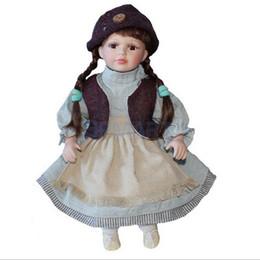 Muñeca de porcelana victoriana elegante de 16 pulgadas con soporte Chica Figuras en vestido rosa Sombrero Niños Regalo Colecciones para adultos # 4 desde fabricantes