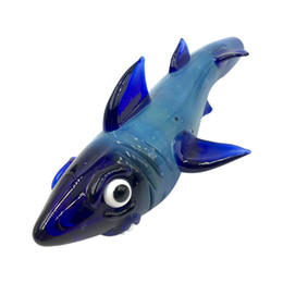 Wholesale Tube Blown Glass - Glass animal pipe hand pipe hand blown smoking pipes blue oceanic sharks design tobacco tube for smoking