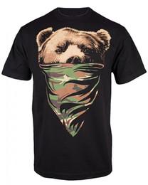 Camisa preta do impressão do bandana on-line-Imprimir Camiseta Para Califórnia República Dos Homens Cali camiseta (2xl, Preto Obc Camo Bandana Urso)
