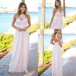 Wholesale Beach Bridesmaid Halter Dresses - Cheap Pink Lace Chiffon Bridesmaid Dresses 2018 A Line Halter Backless Long Summer Beach Garden Wedding Guest Prom Party Gowns