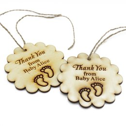 Wholesale Baby Shower Gift Favors - 30pcs Personalized Engraved Wooden Thank You Tags Birthday Gift Tag With Jute Ribbon Decor Baby Shower Present Tags Favors
