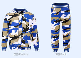 Wholesale Baby Sweat Suit Wholesale - Fashion Baby Boy Clothing Set Camouflage Color Kid Clothes Suir O-neck Coat + Pants sweat suit Chidlren Battle Fatigues LY