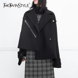 Wholesale Woolen Jackets For Women - TWOTWINSTYLE Woolen Bomber Jackets For Women Winter Long Sleeve Irregular Black Tops Big Size Zipper Female Coat Fashion Clothes
