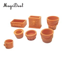 Pezzi in miniatura online-Set di 7 pezzi Miniature Flower Pot per 1/12 Scale Dollhouse Fairy Garden Yard Home Decor Accessori