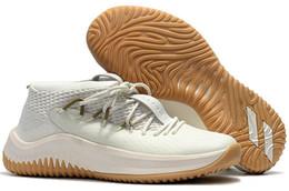 Wholesale Brand Sports Shoes China - Cheap Basketball Shoes Sneakers D Lillard 4 Dame 4 Rip City White Un-Dyed Signature Men Man Sports China Brand Shoe Size 7 - 12