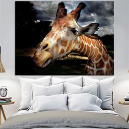 Pinturas a óleo girafas on-line-1 Pcs Girafas Closeup Nariz HD Pintura A Óleo Da Lona Para Sala de estar Modern Home Decor Pictures Arte Da Parede Sem Moldura