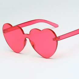 Wholesale Yellow Wrapped Candy - New Arrival Red Heart sunglasses for women 2018 trendy novelty rimless sun glasses candy color love style fashion pink yellow eyewear