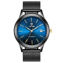 Cajas de liquidación online-TEVISE automático mecánico hombre reloj hombres de lujo a prueba de agua malla banda de acero inoxidable automático reloj de pulsera casual + caja