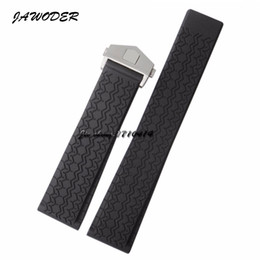 Wholesale Dive Watch Men Rubber Band - JAWODER Watchband 22mm Men Women Stainless Steel Silver Deployment Buckle Black Diving Silicone Rubber Watch Band Strap