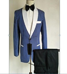 new stylish three piece suit images Promo Codes - New Stylish Design Groom Tuxedos One Button Blue Dot Shawl Lapel Groomsmen Best Man Suit Mens Wedding Suits (Jacket+Pants+Tie) 592