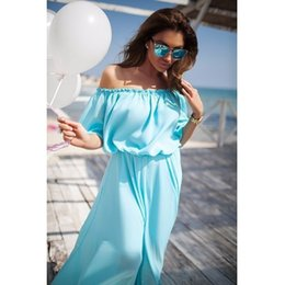 2019 sexy robe maxi bleue Boho Blue Summer Maxi Dress en mousseline de soie solide épaule robes sexy Bohemian Beach Robes Robe Élégant Femmes Vêtements promotion sexy robe maxi bleue