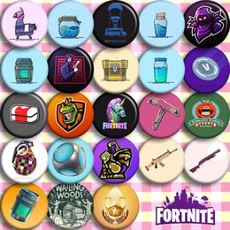 Wholesale badges games - 23 colors Fortnite Battle Royale Badge Chest Fortnite game cosplay PVC button Badges Pin Brooch 120pcs MMA256