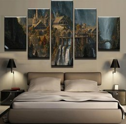 Wholesale Wall Waterfalls - 5 Pieces Mysterious Mountain Castle Waterfall Landscape Modern Home Wall Decor Canvas Picture Art HD Print Painting Canvas Art