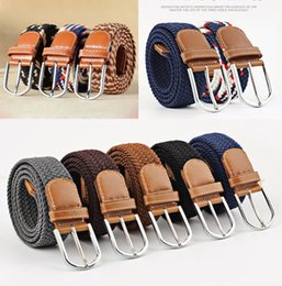 Cinturones elásticos online-40 colores moda mujer trenzada elástica cinturón elástico ocasional, lona tejida Pin hebilla correa para hombre cinturones de diseño 120 cm, 105 cm