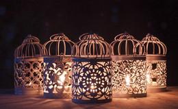 vases en bois Promotion Décoration de la maison creux titulaire photophore bougeoir suspendu lanterne cage à oiseaux Vintage Noël / fée mariage / décoration de fête
