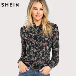 978d4bb9fd1385 SHEIN Multicolor Womens Tops and Blouses Bow Tie Neck Floral Blouse Stand  Collar Long Sleeve Elegant Blouses Shirts