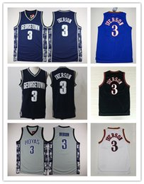 Wholesale Gray Basketball Jersey - NCAA Wholesale Georgetown Hoyas College 3 Allen Iverson Jersey shirts Retro Tean Black Blue Gray Allen Iverson Basketball Jerseys Shirt