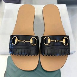 Wholesale Hardware Antique - HOT ! Branded Women Fringe Trim Leather Horsebit Slide Sandal Designer Lady Antique Gold-Toned hardware Leather Sole Slipper