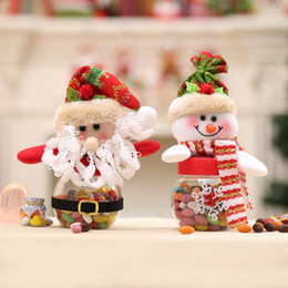 2019 vaso acrílico atacado Papai Noel e Boneco De Neve Pequena Garrafa De Doces De Natal Latas De Doces Dia De Natal Loja De Doces Decoração Caixa De Presente De Natal