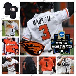 Camiseta de béisbol de costura personalizada online-Custom Oregon State Beavers Béisbol OSU Blanco Naranja Negro Cosido Cualquier número Nombre # 3 Nick Madrigal 35 Adley Rutschman 2018 CWS Jersey