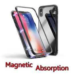 Wholesale glass panelling - Magnetic Adsorption Tempered Glass Back Panel Phone Cover Phone Case For iPhone X iPhone 8 7 6