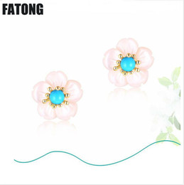 south korea popular jewelry Coupons - 925 sterling silver cherry earrings shell flower turquoise earrings Japan and South Korea popular jewelry women models J0155