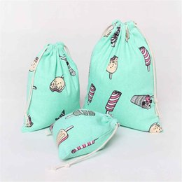 ice storage bag Coupons - Ice Cream Paern Coonu0026Linen Drawstring Storage Bags Travel Shoes Laundry Underwear & Ice Storage Bag Coupons Promo Codes u0026 Deals 2018 | Get Cheap Ice ...