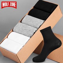 Wholesale mens dress set - Wolf Zone Brand Socks Men Fashion Dress Mens Socks 100 %Cotton High Quality Business Casual Breatheable Long Sock 6 Pairs \Set
